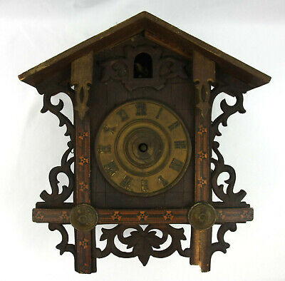 Antique Wooden Railroad Black Forest German Cuckoo Clock AS IS G.K.