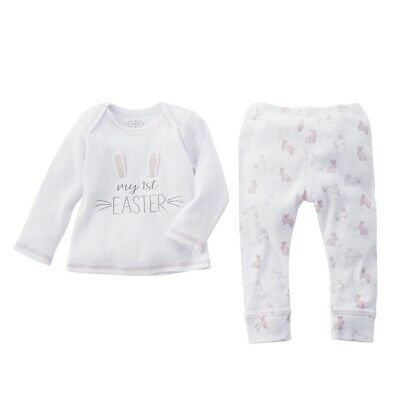 Mud Pie E0 Kids Baby Girl Cotton My First Easter Bunny 2-Piece Pant Set 11010175