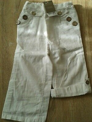 NEXT girls white linen blend trousers age: 2-3 years - new
