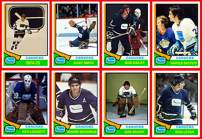 VANCOUVER CANUCKS 1974-75 High Grade Hockey Card Style PHOTO CARDS  U-Pick THICK