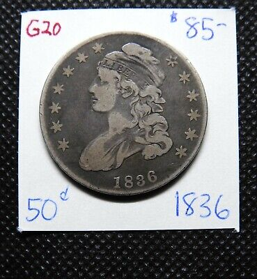 1836 50C Letter Edge Capped Bust Half Dollar ~ Charcoal Grey Fine - VF ~