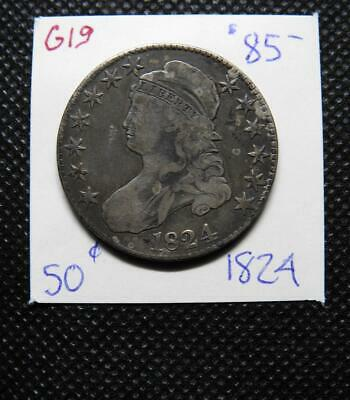 1824 50C Capped Bust Half Dollar ~ DEEPLY TONED FINE NO PROBLEMS ~