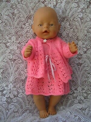 "Zaphf Baby Born 16"" Drink/Wet Dressed In Knitted Pink Outfit & Fabric Undies"