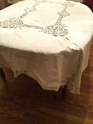 "Vintage Battenburg lace tablecloth in 60""X84"" Oblong White Cotton"