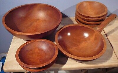 Vintage 8 pc Baribocraft Canada Teak Wood Salad Bowl Set
