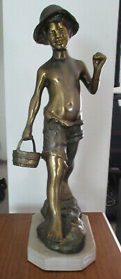 Vintage Retro Brass, Spelter Statute of a boy at the beach