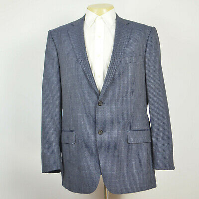 Mint HART SCHAFFNER MARX 100% Wool Navy Check Two Button Sport Coat Sz 44R