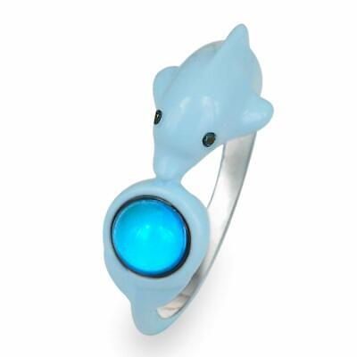 Fun Jewels Cute Dolphin Ocean Animal Wrap Color Change Round Stone Mood (Select)