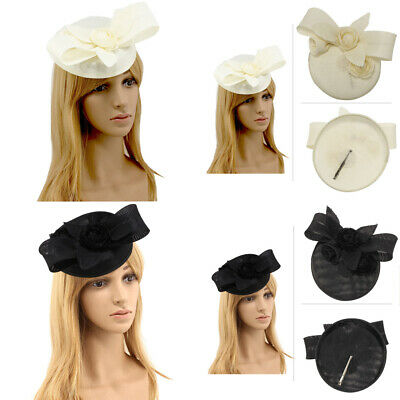 New Womens Flower Feather Fascinator Mesh Hat Hair Clip Wedding Royal Ascot
