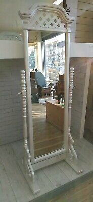 Vintage Cheval Mirror Full Length Pearlised Paint Frame Mirror Antique Retro