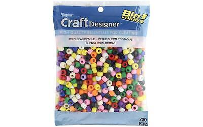 Darice 0726-38 Pony Beads 6mmX9mm 1lb-Pearlized Multicolor 3Pk