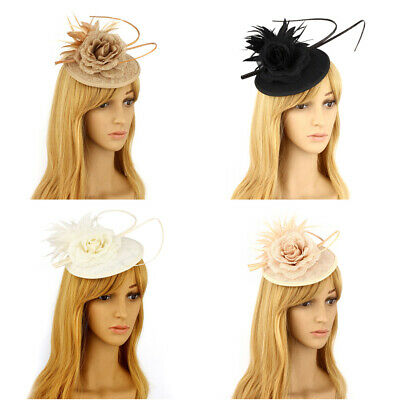 Flower Feather Clip Fascinator Hair Accessories Ladies Wedding Races Bridal Hair
