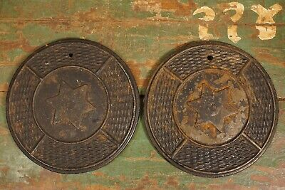 Antique Cast Iron Furnace Covers or Boiler Cover Caps Star Design