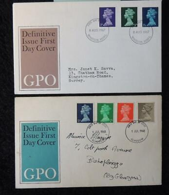 GB 1967/8 x2 FDC - low value definitives