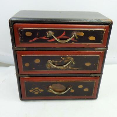 ANTIQUE JAPANESE Lacquer BOX MINIATURE CHEST of DRAWERS c1920