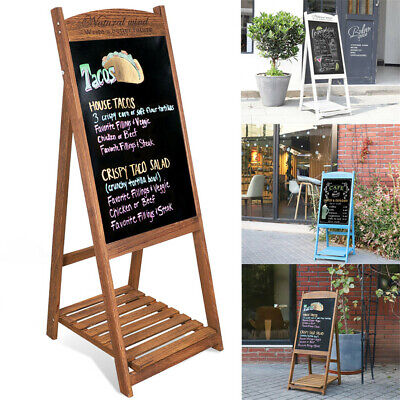 Rustic Brown White Wooden A Frame Easel Chalkboard Erasable Board Stand w/Shelf