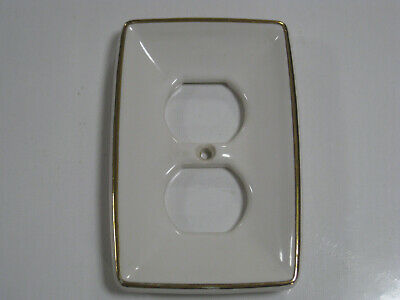 Vintage Ceramic Porcelain Outlet Cover Wall Plate White With Gold Frame
