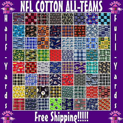 """NFL Cotton Fabric All Teams Sports Collection - 58"""" Wide - Sold by The 1/4 Yard!"""