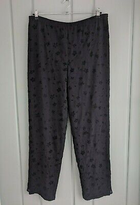 Giorgio Armani Womens Size XL 18 Large Solid Black Silk Floral Pull On Pants