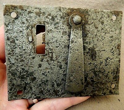Early Antique TRUNK LOCK ~ Hasp Type ~ w/ Swivel Keyhole Cover