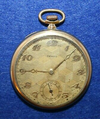 Tempo Swiss Art Deco Pocket watch Gold Filled Top Wind 1920s Used Working cond