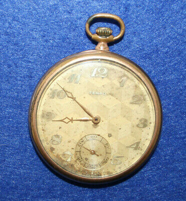 Tempo Swiss Art Deco Pocket watch Gold Filled Top Winder 1920s Used Working