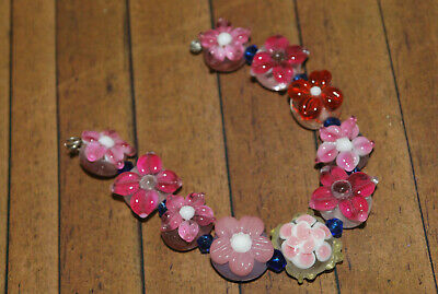 LW164 10 pc set Handcrafted Fine Flower Murano Lampwork Glass Beads 14mm