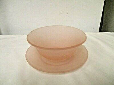 2-pc Pink Frosted Satin Glass Bowl & Underplate-Mayonnaise Type
