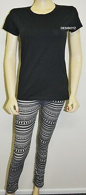 New - GIRLS TEENAGERS SKULL PRINT LEGGINGS WITH T SHIRT - Sizes: 7,8,10,12,14,16