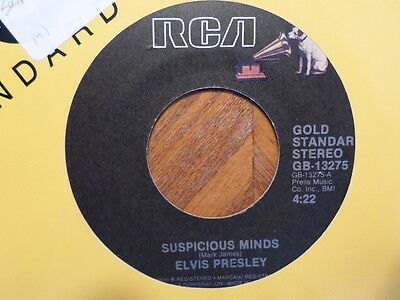 Rca 45 Record / Elvis Presley / Suspicious Minds/ You'Ll Think Of Me / Ex Vinyle