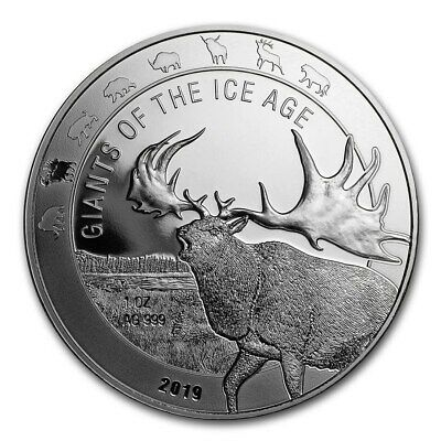 2019 Republic Of Ghana The Giants Of The Ice Age Series Megaloceros 1 oz Silver