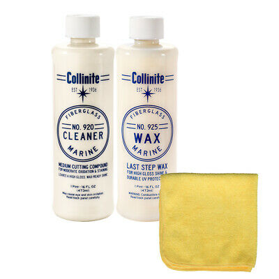 Collinite 920 Fiberglass Boat Cleaner & 925 Boat Wax Combo Pack with Towel