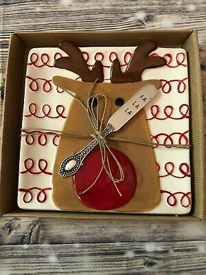 "Mud Pie Reindeer Cheese Set Plate Knife Christmas Holiday Gift Fa La La 7""x7"""
