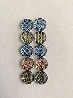 5 Pairs Of 12mm Glass Cabochons #680