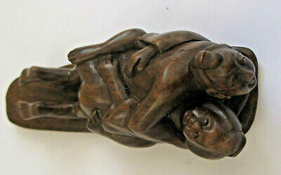 Antique Chinese Wood Hand Carving Couple Erotic Figurine Signed