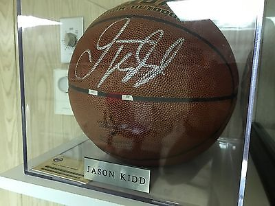 Jason Kidd Signed Basketball NBA with Case and Name Plate Authentic