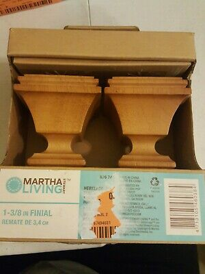Martha Stewart Living 1-3/8 in. Wood Square Finial in Heritage Oak