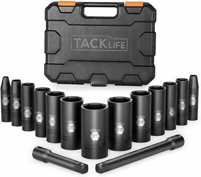 Tacklife 3/8-Inch Drive Deep Impact Socket Set, Sae, Cr-V Steel, 6-Point, Heavy