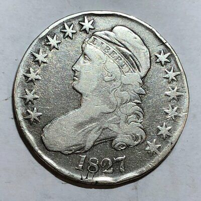 1827 Bust U.S. silver half dollar. Fine-VF, old cleaning. #ed1