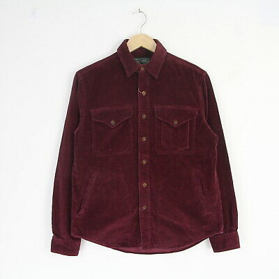 New Mens Ralph Lauren Polo Country Wine Red Cord Hunting Work Over Shirt XS BNT