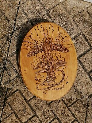 HAND ENGRAVED pyrography Amon Ra God Sun 11'' Plaque One of a kind Wood Art Wall