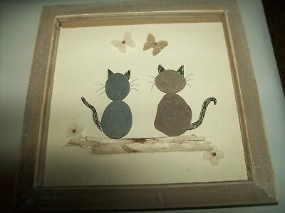 15cm frame white Cats valentine driftwood /& pebble art picture Personalised