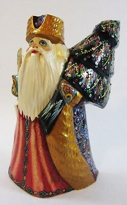 """Russian Folk Art Carved Santa Christmas Hand Painted High Quality Detailed 8"""""""