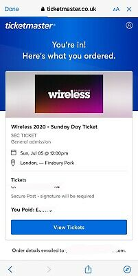 1x SUNDAY TICKET WIRELESS 2020 WIRELESS FESTIVAL (SOLD OUT EVENT)