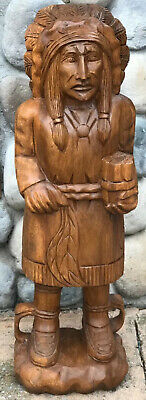 "Cigar Store In-Gin Statue / 40"" Mahogany Wood Hand Carved In-Gin Statue /Natural"