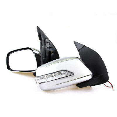 Led Chrome Manual Door Mirror Fit Nissan D40 Navara Rx Frontier 4Wd Pickup 04-14