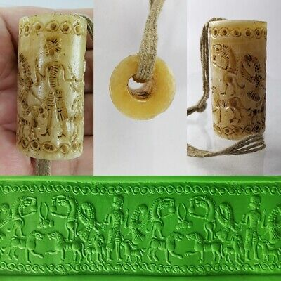 Rare Sassanian Cylinder Seal Bead Very Old White Jade King Round Intaglio #343