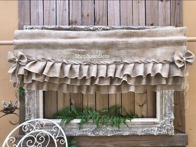 Triple Ruffle Burlap Country Valance, Rustic Window Valance Brown Curtain