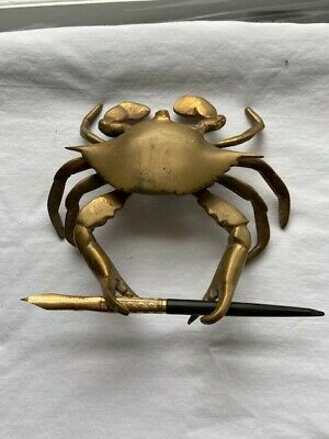 Antique brass crab inkwell with pen