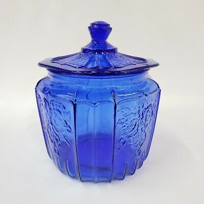 Canister Jar Container Storage Depression Glass Cobalt Blue Cookie Biscuit